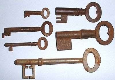 x6 Rare Old 19th Century Victorian Steel Keys 108mm to 34mm - #2 NO RESERVE