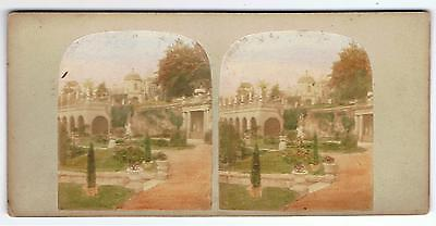 Tinted Stereoview - Alton Towers - View In The Gardens By Poulton