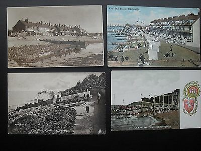 Whitstable 4 vintage postcards - Tankerton Hill Slope Houses West End Beach Huts