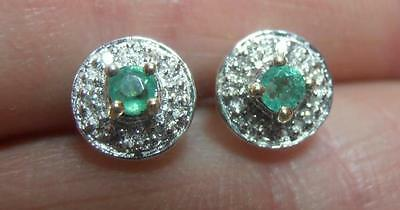 Pretty Pair 9Ct Gold Emerald & Diamond Cluster Earrings