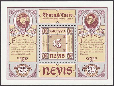 Nevis, 1990 Thurn & Taxis Miniature Sheet. Unmounted Mint MNH. Pristine