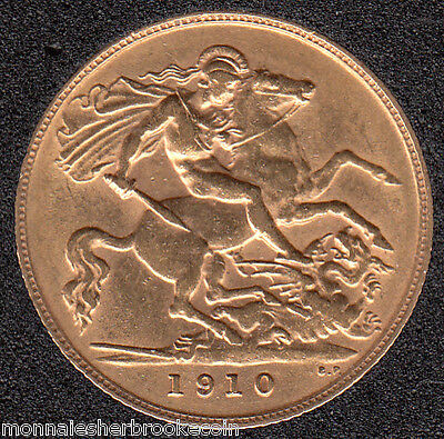 1910 Great Britain 1/2 Sovereign Gold Coin - Edward VII - D965