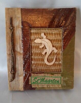 Hand Made Photo Album St. Maarten Caribbean Leaves Wood Gecko Page Lining G4