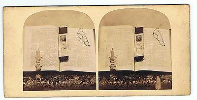 Stereoview - Still Life With Bible Spectacles & Candle - Ecce Homo