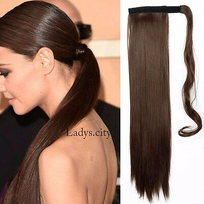 "Long Thick 23"" Clip In Ponytail Medium Brown Straight Style Hair Extensions LSC"