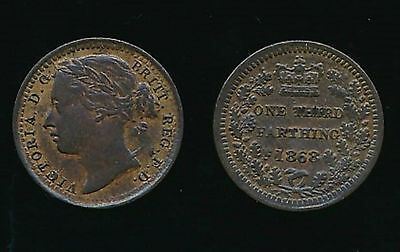1868 Victoria...THIRD FARTHING...Fast Post
