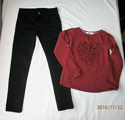 girls outfit denim&co jeans 7-8years h&m top 6-8 years