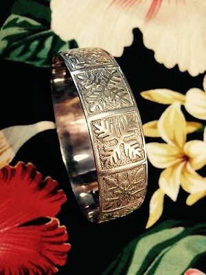 Sterling Hawaiian (quilt) Pattern Bracelet 14mm