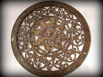 Vintage  Cast Iron Register Grate >Stove Old Shabby Round Garden 1897