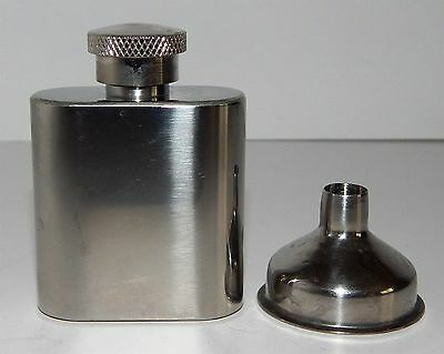 """Waistcoat Pocket """"hip"""" Flask! - 1Oz Stainless Steel Complete With Funnel"""