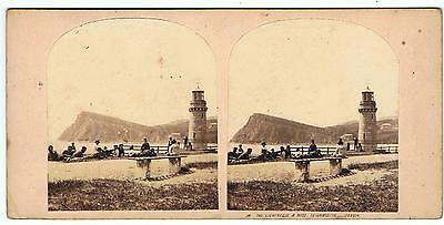 Stereoview - The Lighthouse And Ness Teignmouth  , Devon