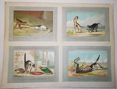 Anthropomorphic Victorian Christmas Cards by Prang Cats Dogs Monkey Parrot 1880