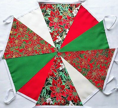 10ft Christmas Handmade Fabric Bunting RED GREEN CREAM FLORAL MIXED Card String