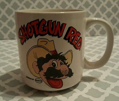 Vtg Rare Shotgun Red by Scotty Ceramic Mug Hee Haw Character Western Cowboy