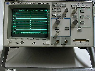 HP Logic Analyzer Model 54620A 16 Channel 500 MSa/s Plus Ribbon Cables Powers Up