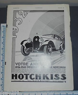 1932 Hotchkiss car vintage french print ad