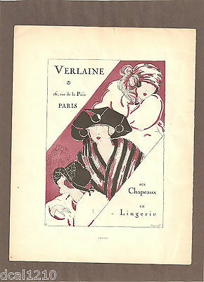 1920'S Ad 2 SIDES VERLAINE LINGERIE MAPPIN & WEBB PIGEAT ORIGINAL ADVERTISING