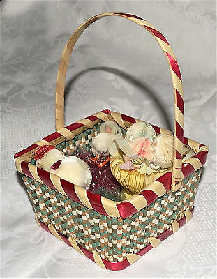 Vintage Japan EASTER LOT Honeycomb/Woven BASKETS EGGS Chenille CHICKENS 1940-50s