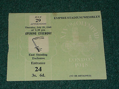Ticket 1948 Olympic Games (London) - OPENING CEREMONY on 29 July