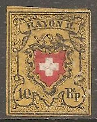 1850 Switzerland Rayon II 10r. Red, Black and Yellow SG 10 Used (Cat £170)