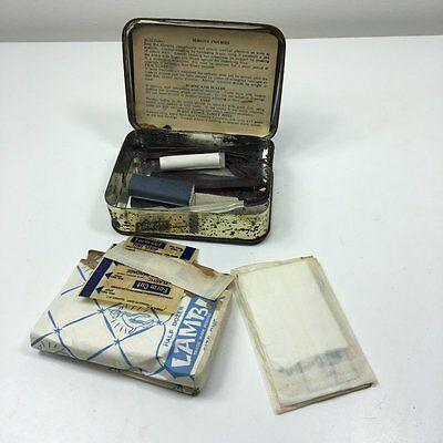 Vintage 'handy' First Aid Kit Tin With Original Contents Bandages Etc