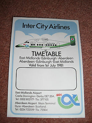 Airline Timetable - Inter City Airlines Shorts 330 1981 *