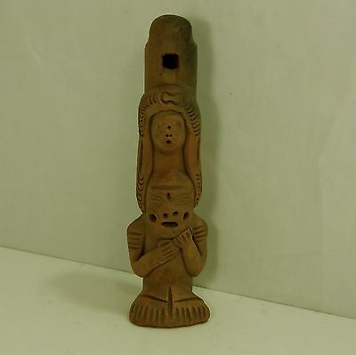 "Antique / Vintage Clay Sitting Inca Flute Found at an Estate Sale 9""-2"" x 2"""