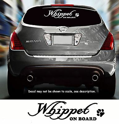 Whippet Dog On Board Paw Vinyl Car Decal Pet Sticker RV