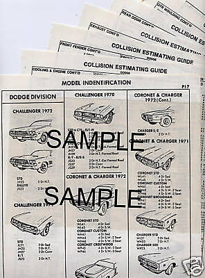 1972 Lincoln & Continental Mark Iv Body Parts List Crash Sheets ~