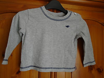 Boys grey long sleeve top, embroidered dinosaur, FLORENCE & FRED, 12-18 months