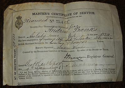1868 Andrew Banks Master Mariner Certificate Of Service West Hartlepool Vellum?