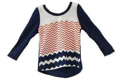 W Heart Girl NEW Blue White Baby Girl's Size 18 Months Chevron Print Top DEAL