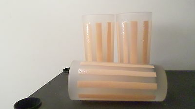 """3 6 1/4"""" Frosted Glass w/ Peach Orange Stripes Drinking Soda Water Glasses"""