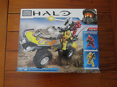 """Mega Bloks Halo """"unsc Flame Warthog"""" - No 97449 - 207 Pieces -New In Box"""