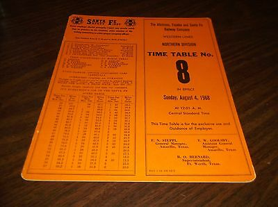 August 1968 Atsf Santa Fe Northern Division Employee Timetable  #8