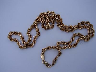 "14K SOLID YELLOW GOLD ROPE CHAIN NECKLACE 21""   ~ 4 mm"