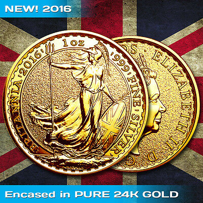 2016 Silver Britannia .999 1 oz Silver Coin - 24K Gold Encased Edition
