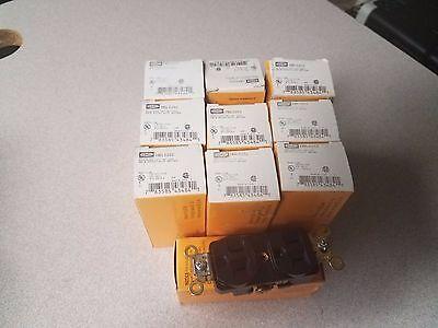 """""""LOT OF (10) Hubbell  2-Pole 3-Wire Grounding, 15A 125V, 5-15R, Brown"""
