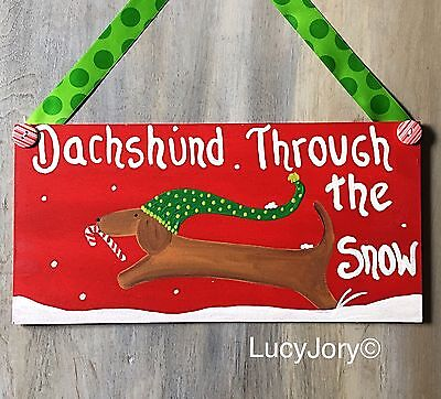 Dachshund Through The Snow Home Wall Or Door Decoration