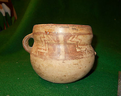 pre columbian mayan pottery olla , geometric paint design  REDUCED PRICE