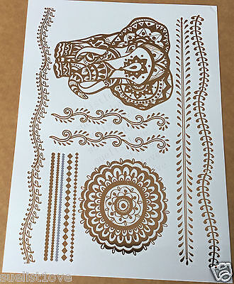 Temporary Metallic Tattoo Gold Silver Black Flash Tattoos Inspired Elephant