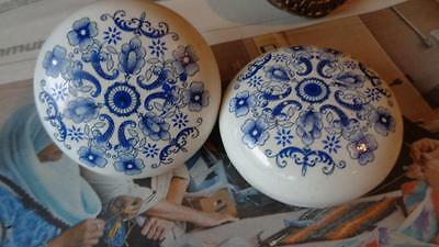 Vintage door knobs White Porcelain / Ceramic With Blue Design