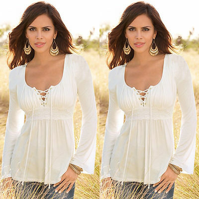 USA Women Ladies Loose Long Sleeve Casual Blouse T-Shirt Tops Fashion Blouse