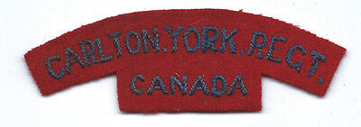 WWII-50's Carlton York Regiment Canadian Title / Patch