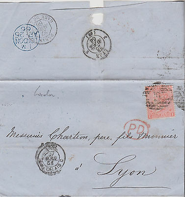 1866 QV LONDON WRAPPER WITH 4d VERMILLON STAMP MAILED TO LYON FRANCE
