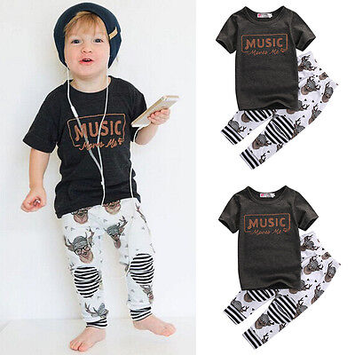 Toddler Kid Baby Boys Girls Outfit Clothes T shirt Tops Pants Bodysuits 2PCS Set