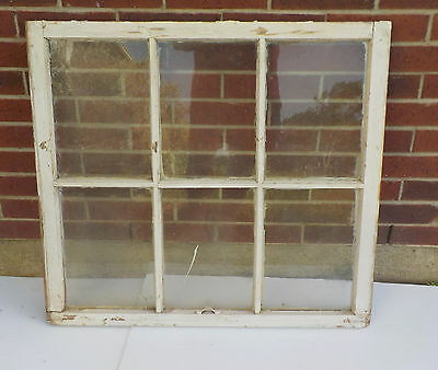 "ANTIQUE WOODEN 6 PANE OLD WINDOW SASH OLD WITH GLASS 34 3/4"" x 31"""