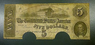 1862 Confederate States of America $5 Civil War Currency Note