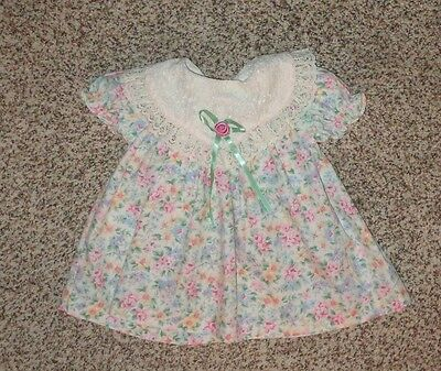 Baby Girls Floral Dress Lace Collar Pink Blue Green Yellow 12 Months EUC