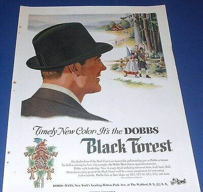 1954 DOBBS Black Forest Hat Ad ~ Clockmakers art